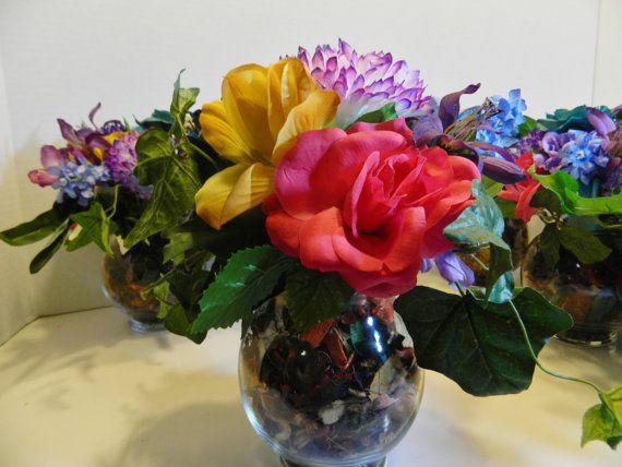 MULTICOLOR SILK FLOWER Arrangement 10 High Set of  7 by MAKERSNINE, $25.00