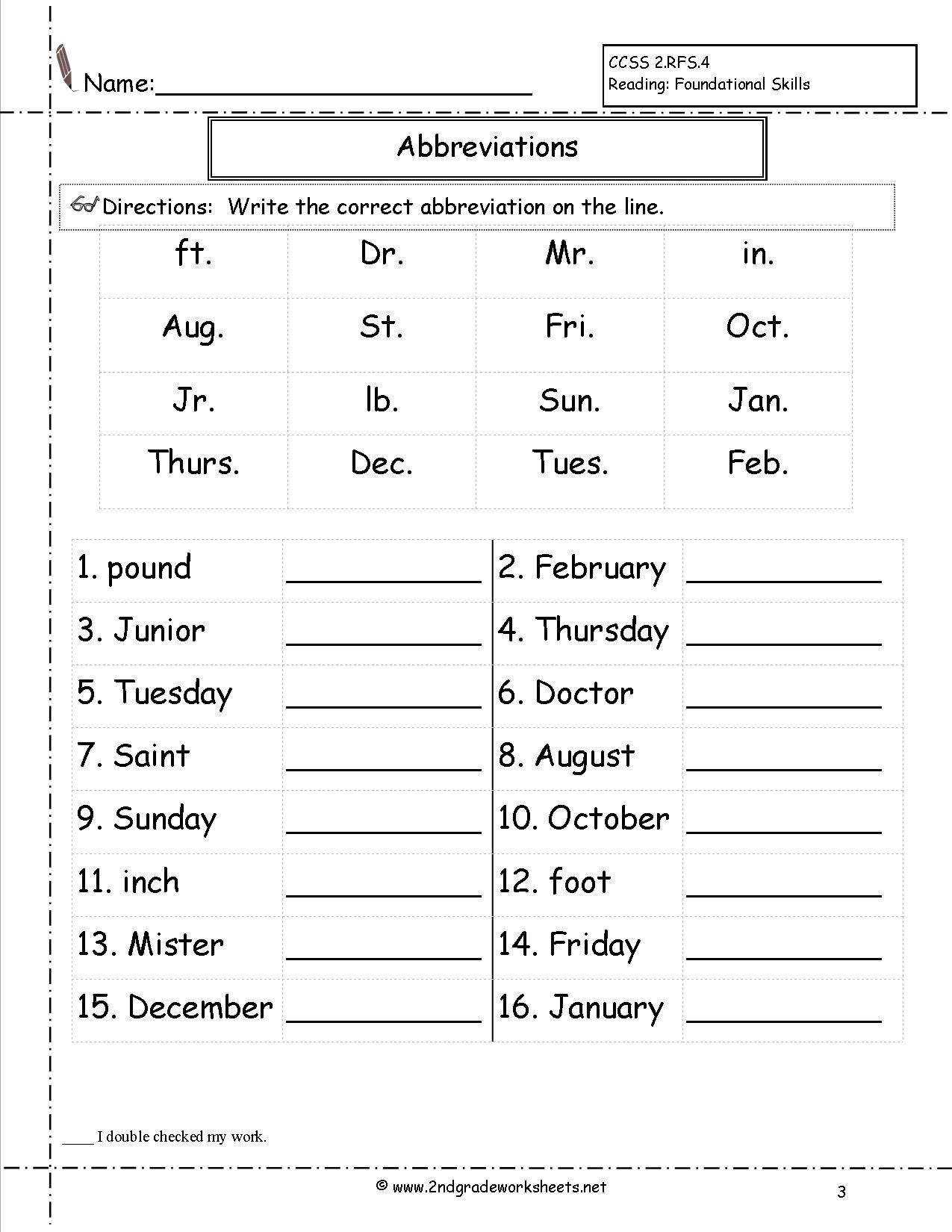 Abbreviations Worksheet With Images