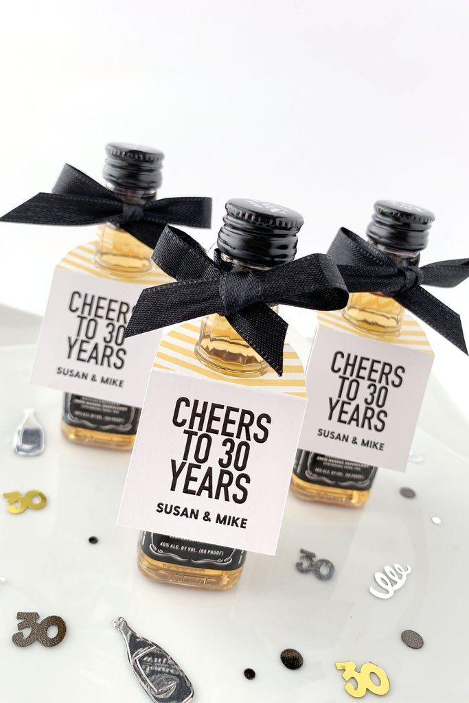 Cheers To 30 Years Wedding Anniversary Party Favor Tags Invite
