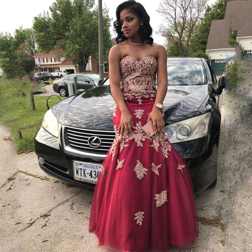 Click to buy ucuc burgundy tulle mermaid evening dress off shoulder