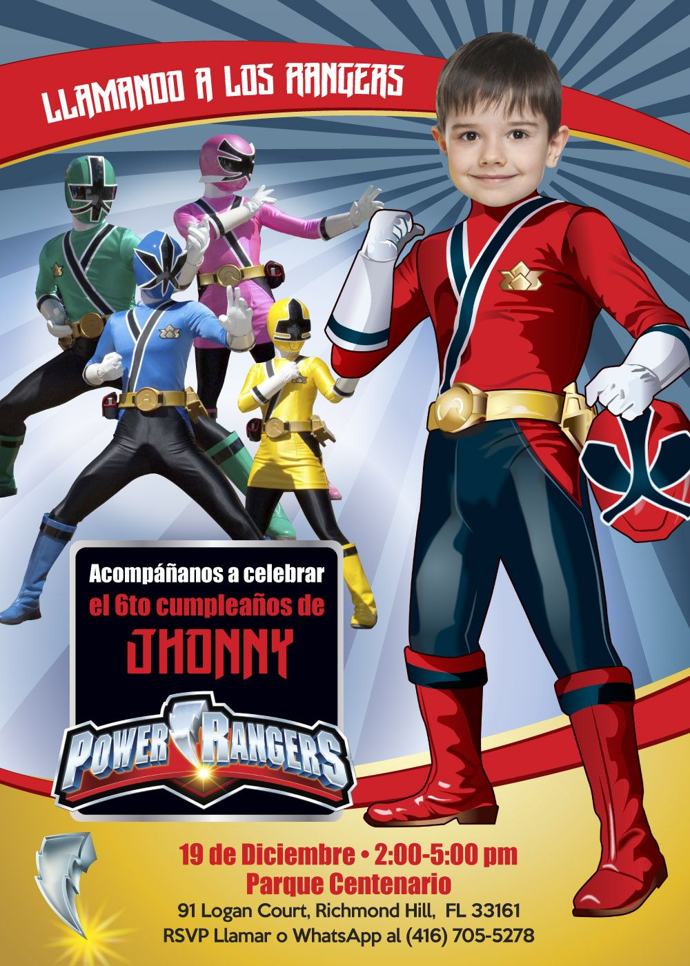 Invitación De Cumpleaños Power Rangers Fiesta Power Rangers