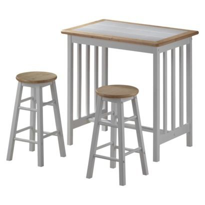 mission breakfast bar with stools natural 105 would go with green chairs