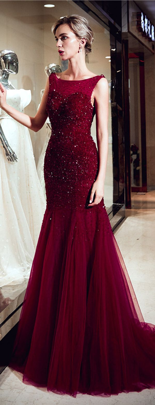 Red sparkly beaded mermaid sleeveless tulle sequin backless prom