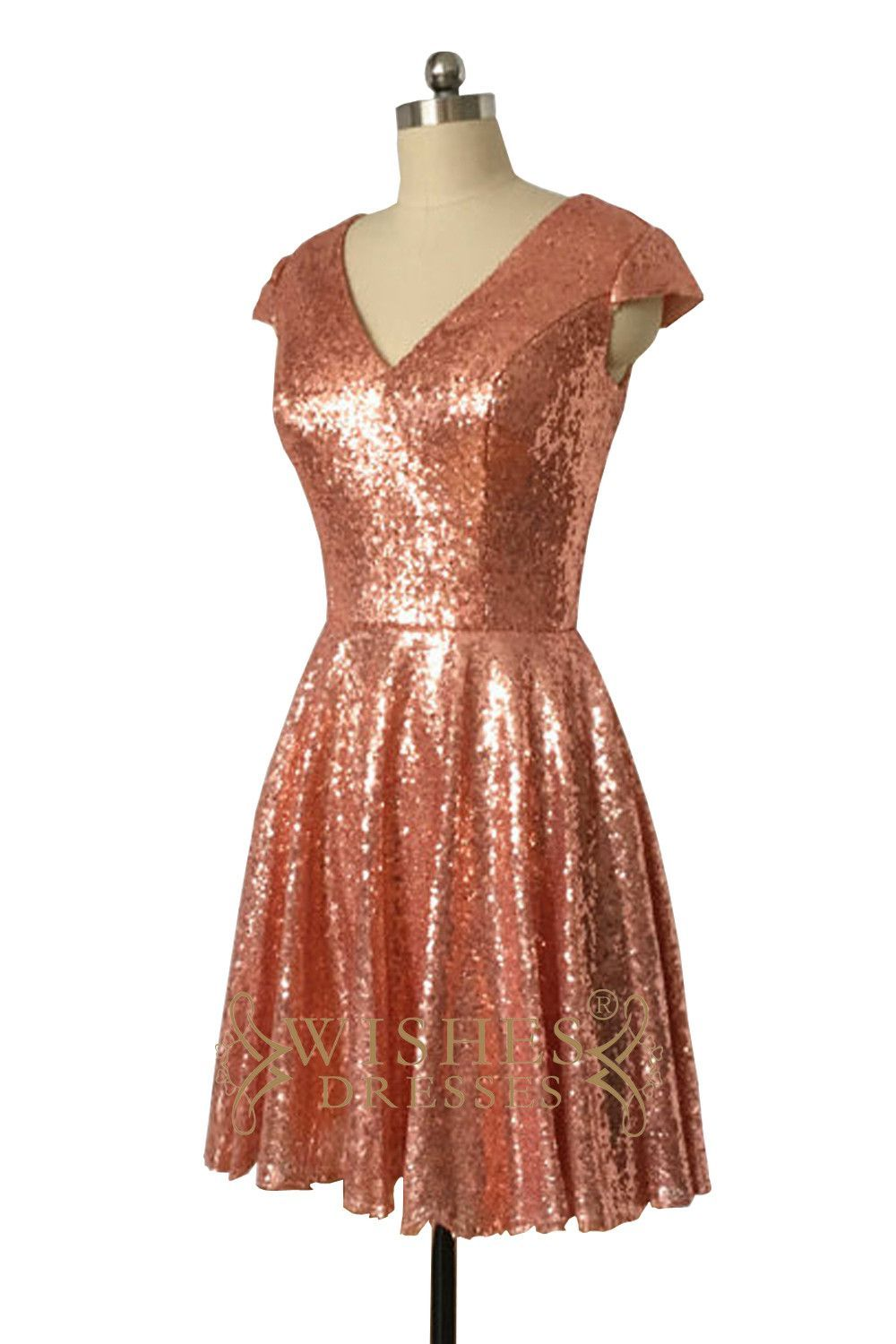 aline rose gold sequins bridesmaid dress cap sleeves mother