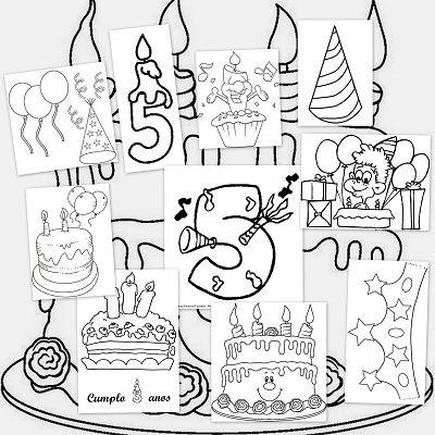 Dibujos para colorear. Fiesta de cumpleaños | TOMAS | Pinterest