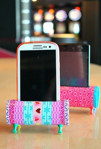 Diy Phone Stand With Recycled Toilet Paper Rolls Food Pinterest
