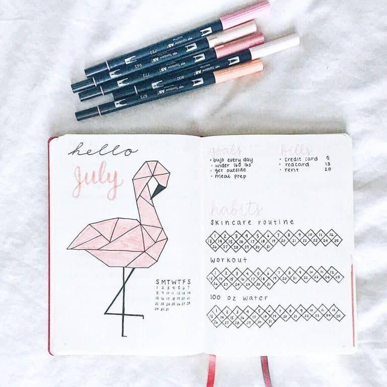 49 of the Pinkest Flamingo bullet journal spreads | My Inner Creative