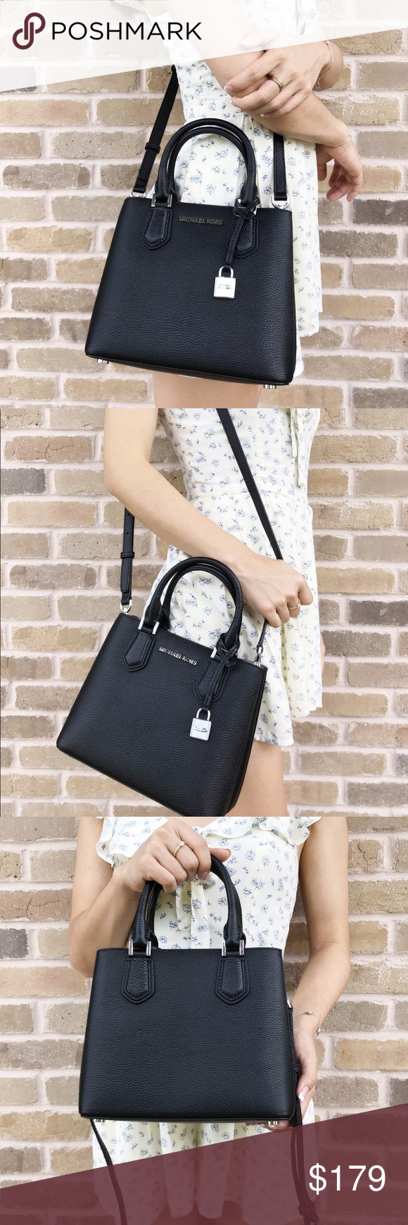 5db7eca987d9 Michael Kors Adele Mercer Medium Messenger Bag STYLE: 35T8SGAFS3L Color: Black  Pebbled Leather exterior