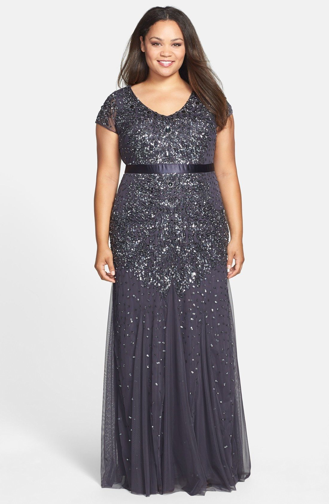 Adrianna Papell Beaded V-Neck Gown (Plus Size) available at ...