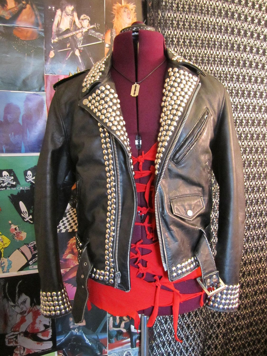 Studded and Spiked Vintage Classic Motorcycle Jacket