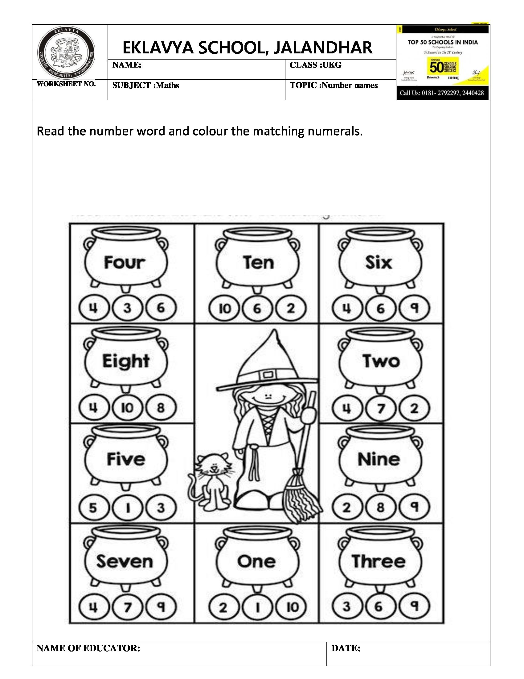 Worksheet On Number Names