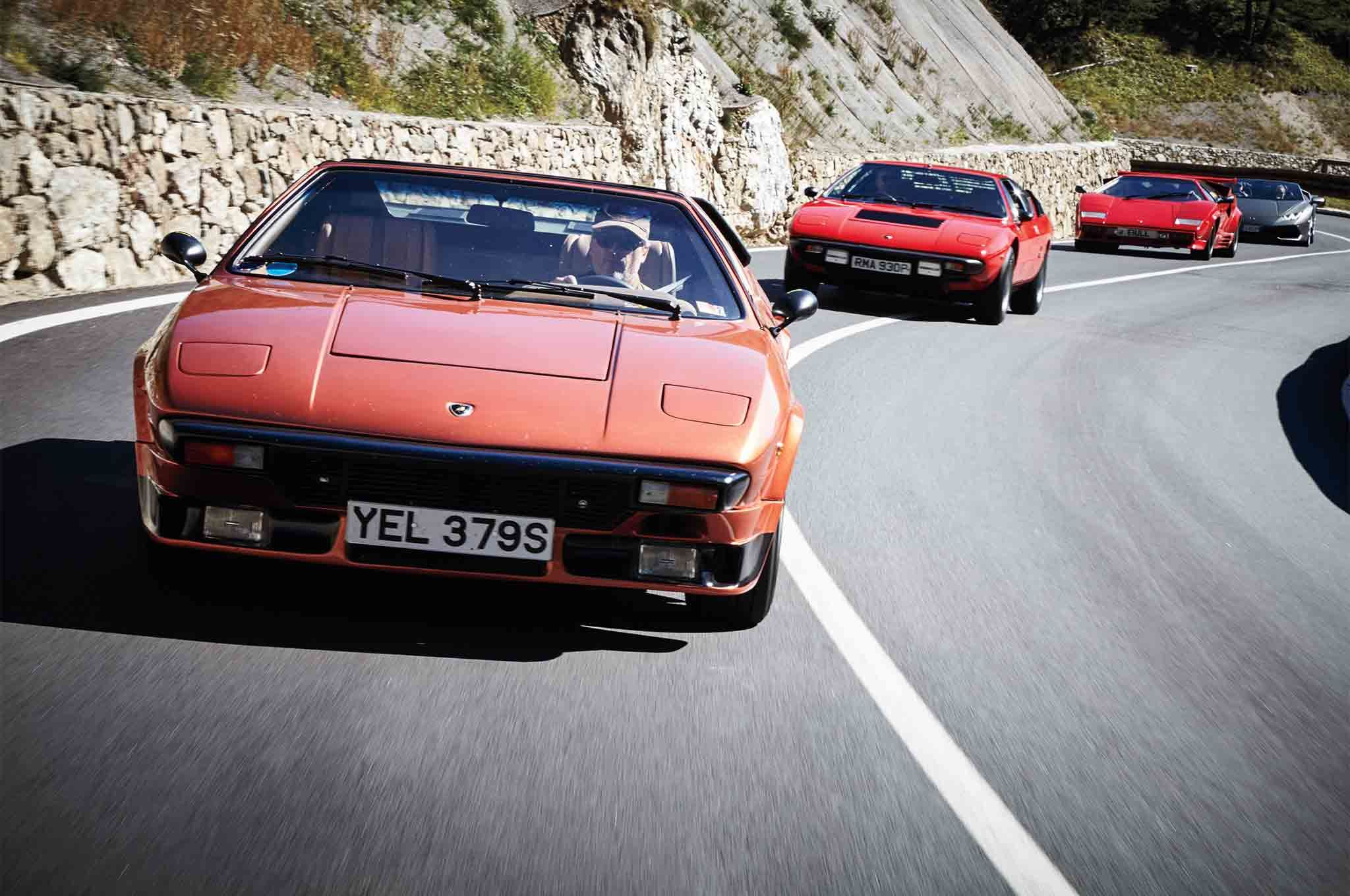 A Huracán Spyder joins six classic Lambos on a drive from Sant'Agata to London