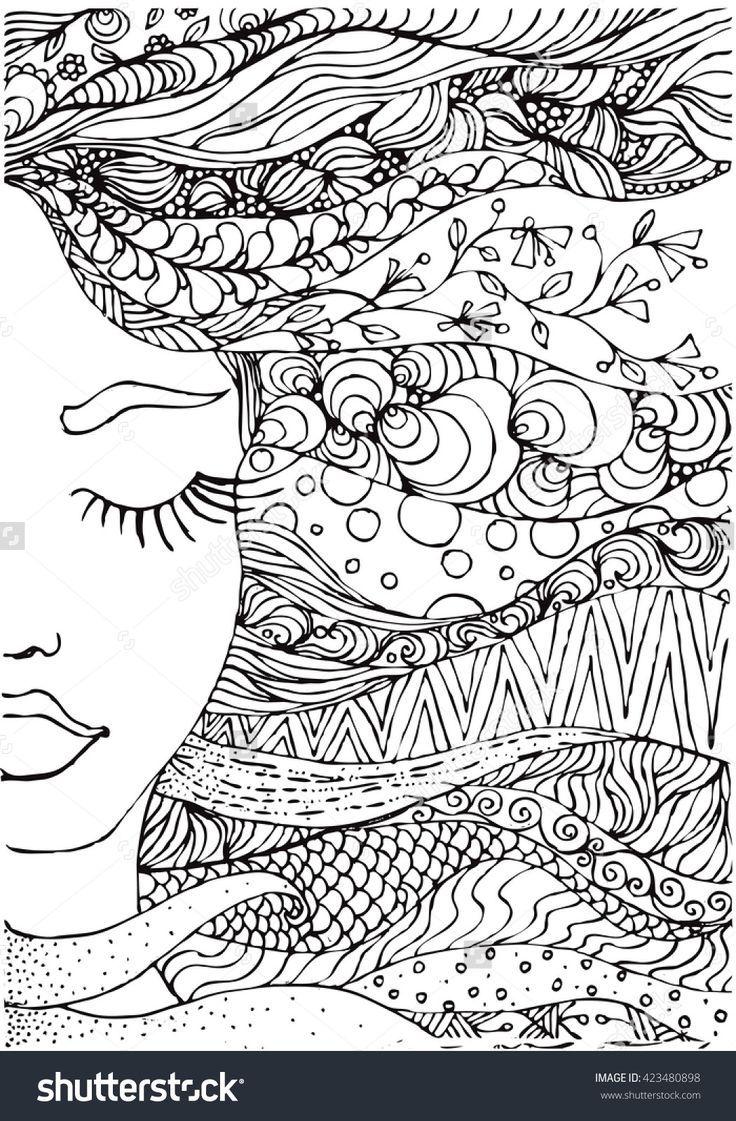 Ink Doodle Womans Face And Flowing Coloring Page Zendala Ink Doodles Mandala Design Art Zentangle Art