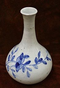 Korean Art and Korean Antiques - 19th Century Blue and White Porcelain Peony Bottle
