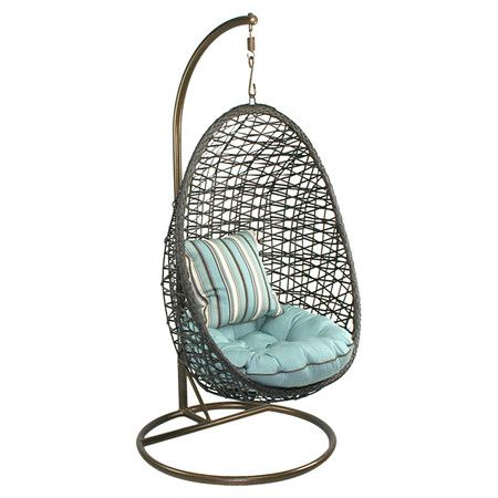 Indoor/outdoor Hanging Accent Chair With A Woven Half Egg Seat. Product: