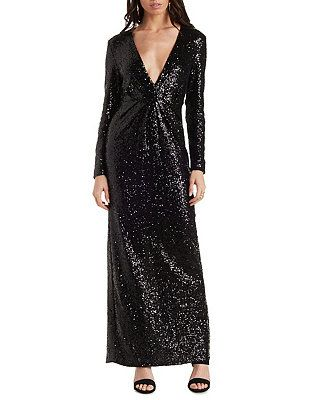 Cocktail dresses long sleeve sequin maxi