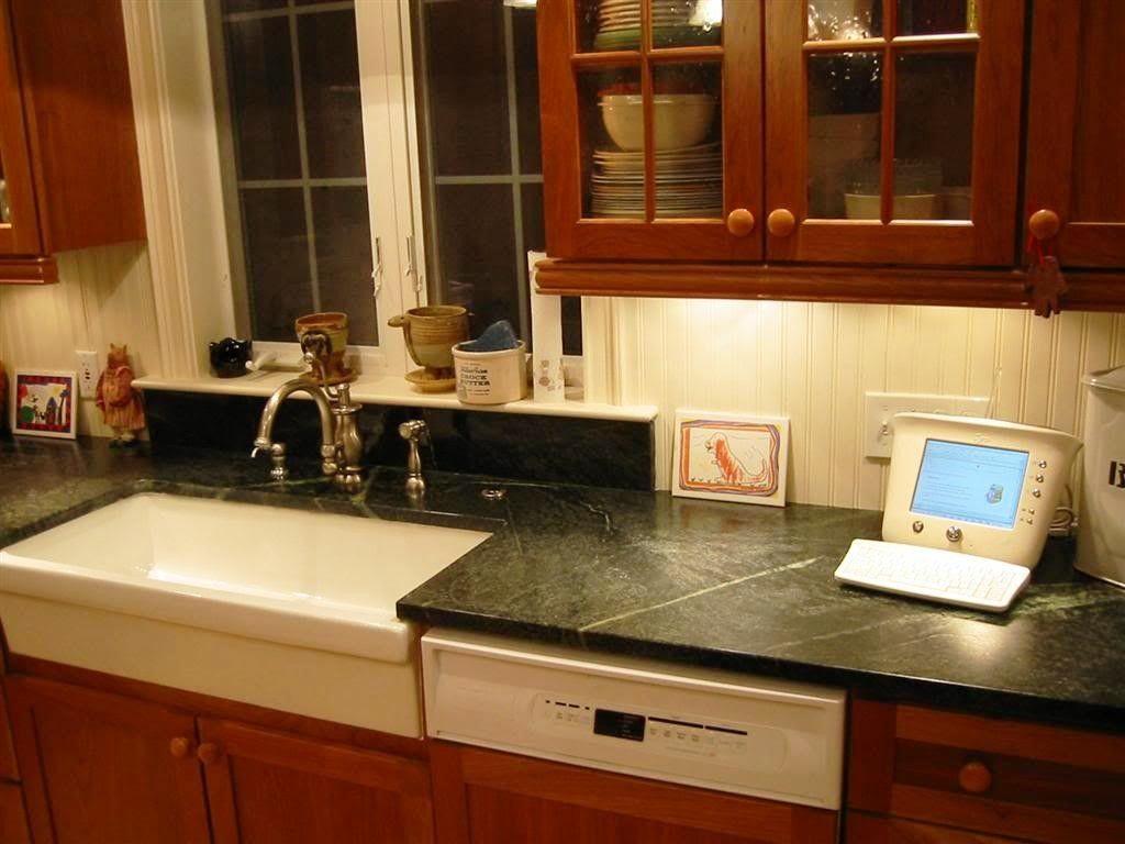 Dark Kitchen Lighting With Kitchen Beadboard Backsplash And White