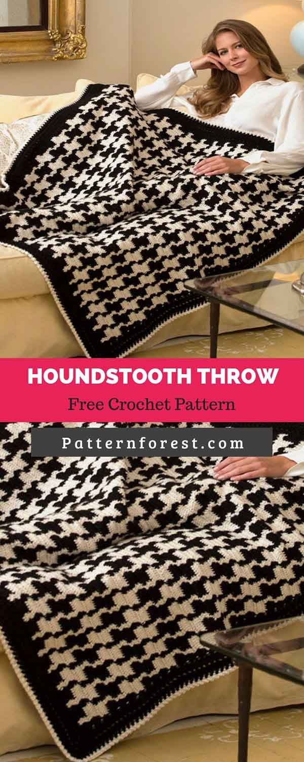 Houndstooth Throw [Free Crochet Pattern] | Pattern Forest