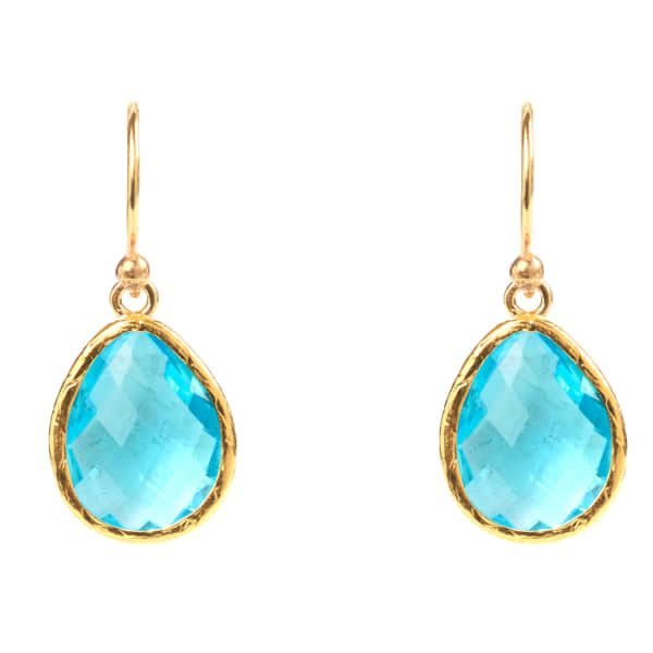 Latelita London Silver Single Drop Earring Blue Topaz XUkG73YC