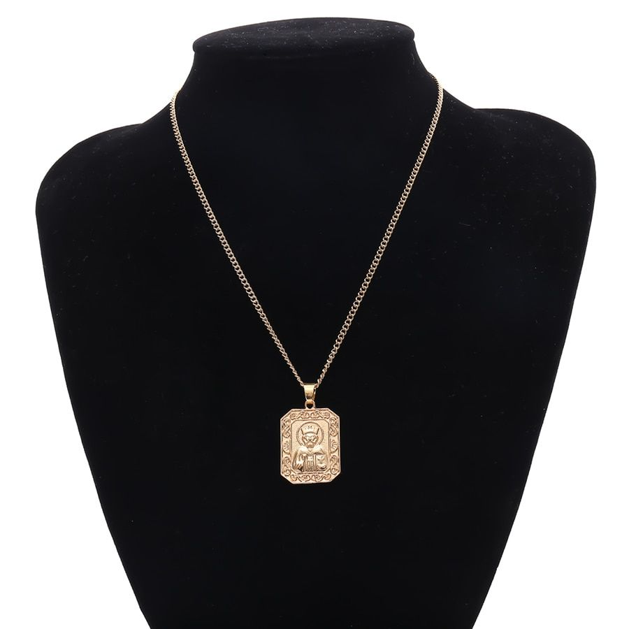 Photo of Vintage Personalized Godfather Square Pendant Necklace – Golden