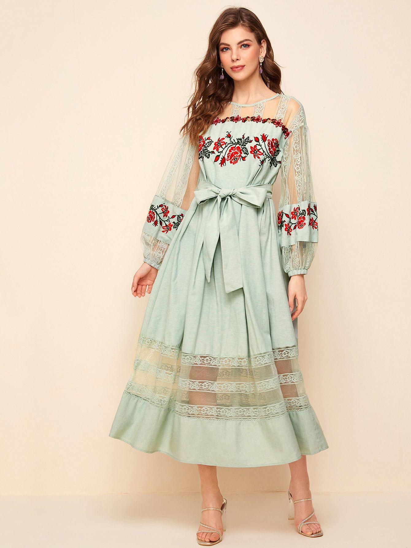Lace Insert Lantern Sleeve Embroidered Dress With Belt Embroidered Dress Women S Fashion Dresses Dresses [ 1785 x 1340 Pixel ]
