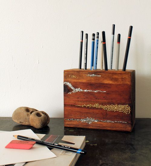 A fun DIY that doubles as a terrific holiday gift: an embellished wood pencil block.