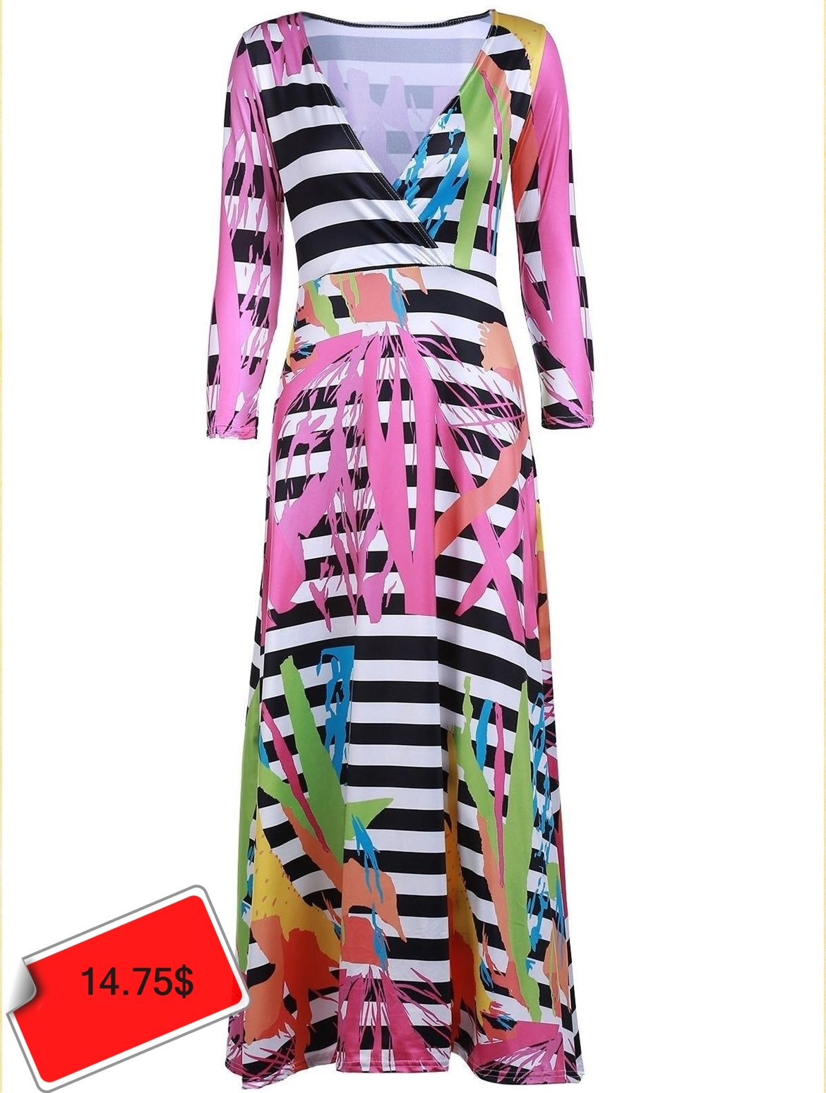 Sexy plunging neck printed sleeve maxi dress for women style