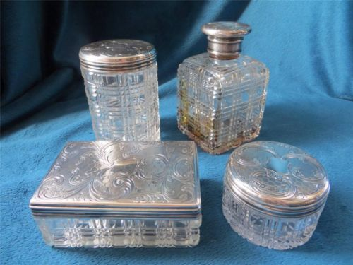 749b1dcd18 Antique 1859 Cut Crystal Sterling Silver Lids Powder Jar Perfume Vanity Box  Set