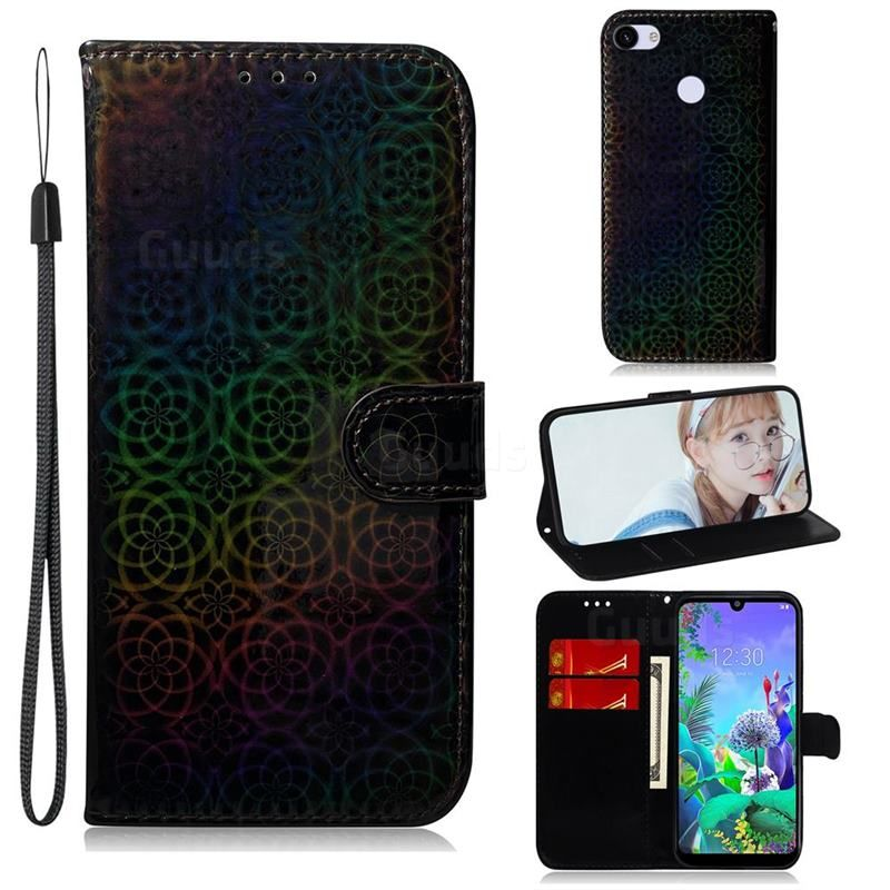 Laser Circle Shining Leather Wallet Phone Case for Google Pixel 3A XL - Black - Google Pixel 3A XL Cases - Guuds