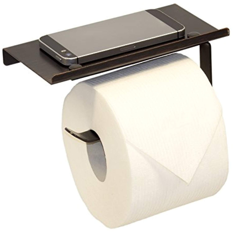 Neater Nest Reversible Toilet Paper Holder With Phone Shelf Modern Style Oil Rubbed Bronze Toilet Paper Holder Bathroom Toilet Paper Holders Modern Shelving