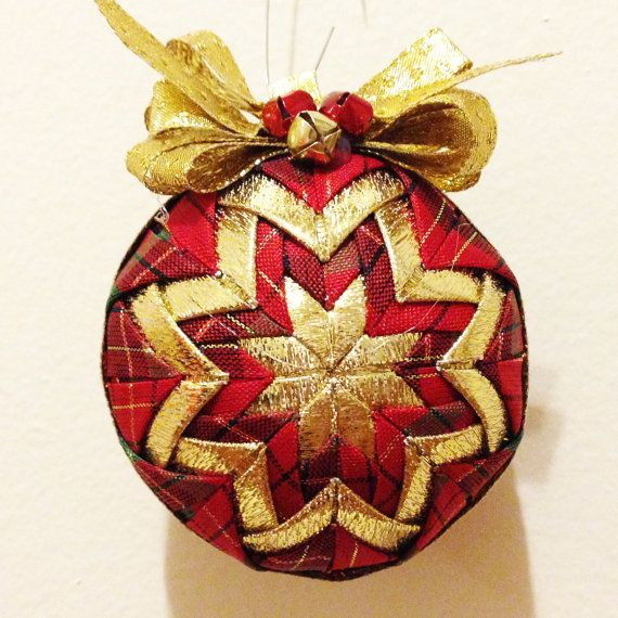 Golden Christmas  Handmade Quilted Ornament by Traceritops on Etsy, $18.00