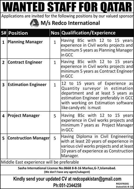 Latest Jobs In MS Redco Internationals Qatar  Jobs In Pakistan