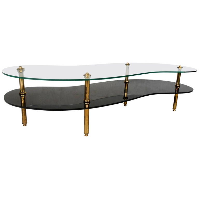 Unique Mid-Century Modern Two-Tier Brass and Glass Coffee Table | From a unique collection of antique and modern coffee and cocktail tables at https://www.1stdibs.com/furniture/tables/coffee-tables-cocktail-tables/