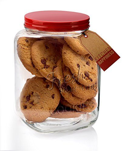 Classic Glass Cookie Jar With Red Lid 94 Oz Capacity Happy Home Http Www Amazon Com Dp B00neru60 Glass Cookie Jars Cookie Jars Glass Food Storage Containers