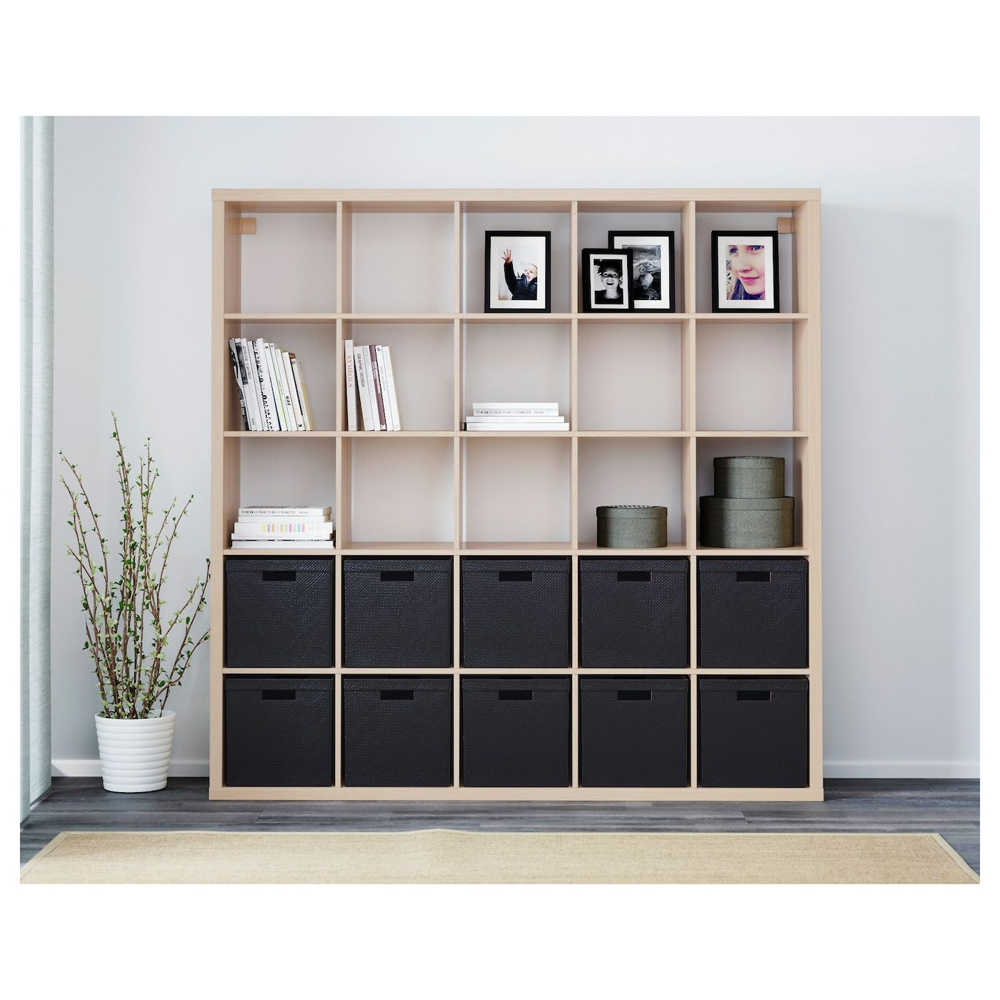 KALLAX Shelving unit white stained oak effect 182x182 cm