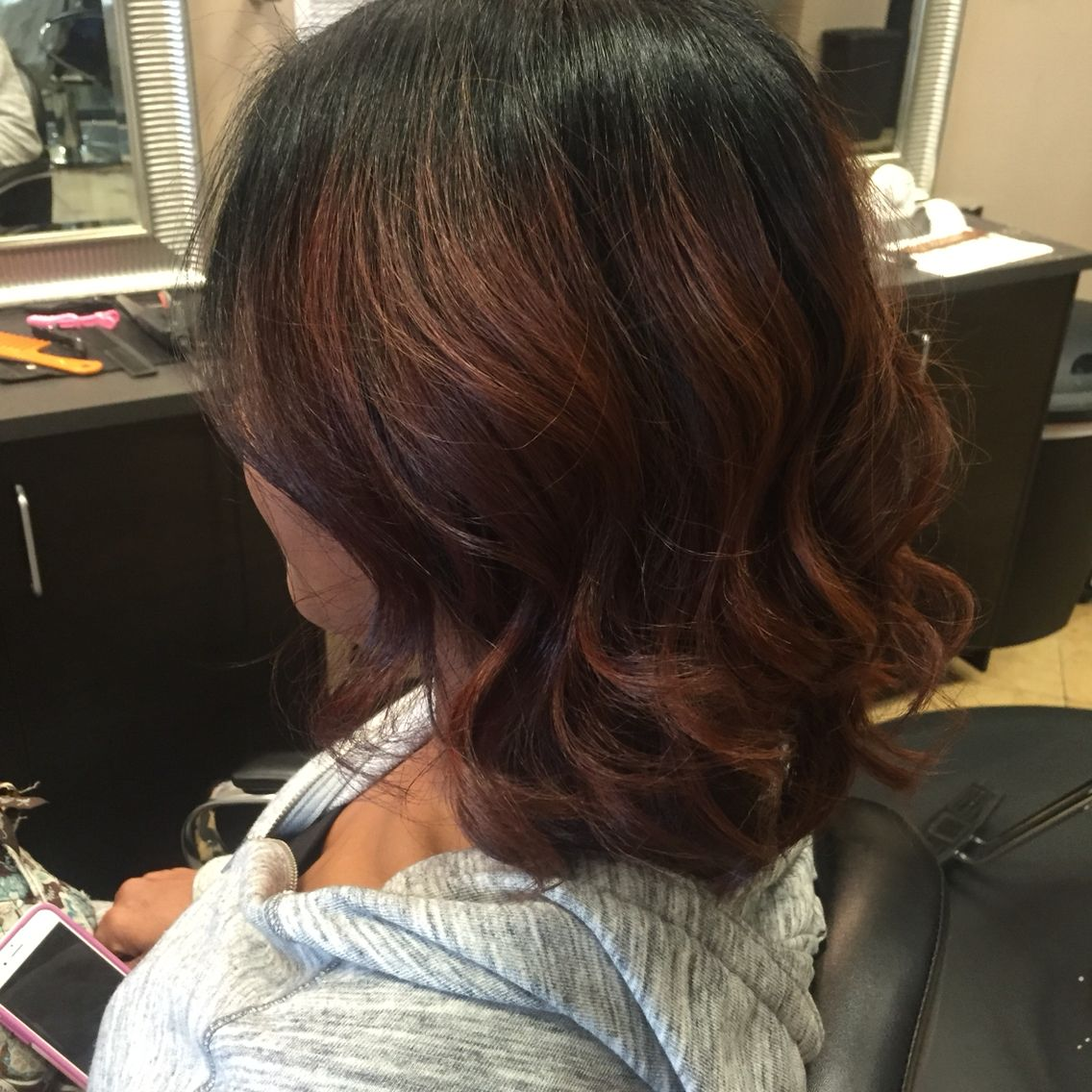 Silk press on natural hair. Cut into a bob. Red auburn
