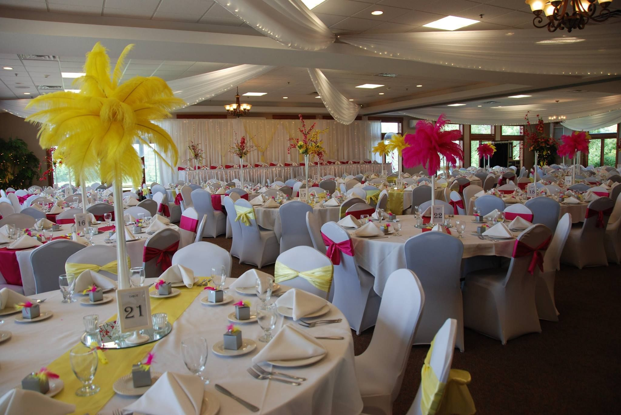 Pink And Yellow Wedding Reception Decor Risers For Head Table