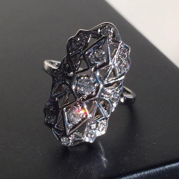 Antique 14k Gold Diamond Ring Gorgeous antique diamond ring set in 14k white gold.  Size 6.  Beautiful sparkly diamonds.  15 diamonds total. Jewelry Rings