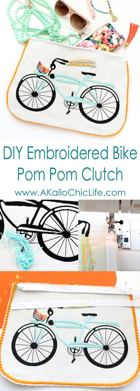 Sew It - An Embroidered Bike Pom Pom Clutch