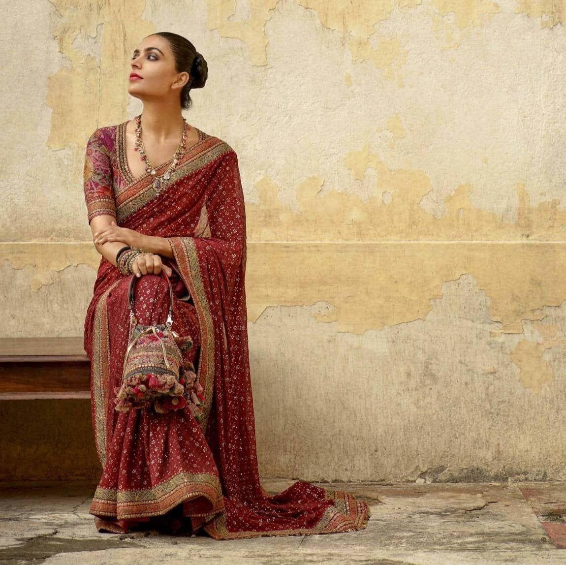 Photo of Designer maroon Colore saree party wear saree Indian Women Saree Bollywood Style saree beautiful work saree