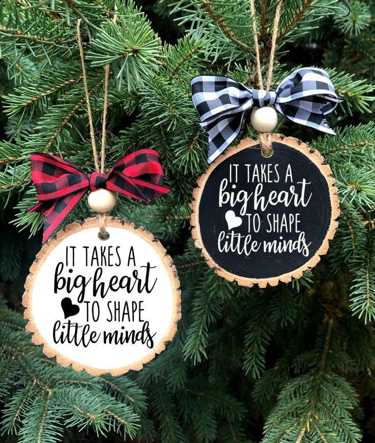 Teacher Gift Ornament, It Takes a Big Heart to Shape Little Minds Ornament, Teacher Gift, Teacher Ch #teacherchristmasgiftideas