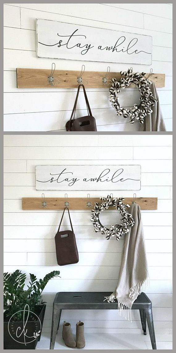 Stay awhile   wood sign   stay awhile sign   entryway wall decor   rustic wood sign   entryway decor   wooden signs   47  x 11 25
