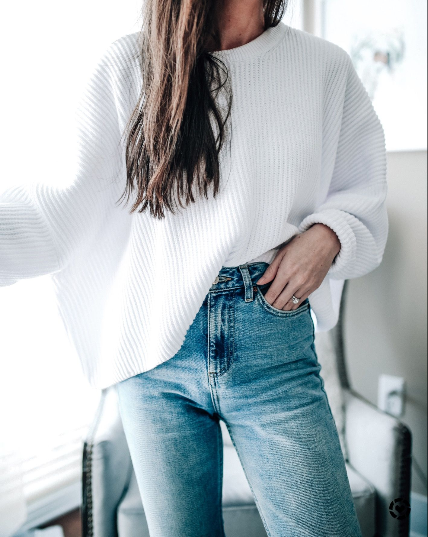 weekend casual outfit, cozy white sweater and highwaisted denim ...