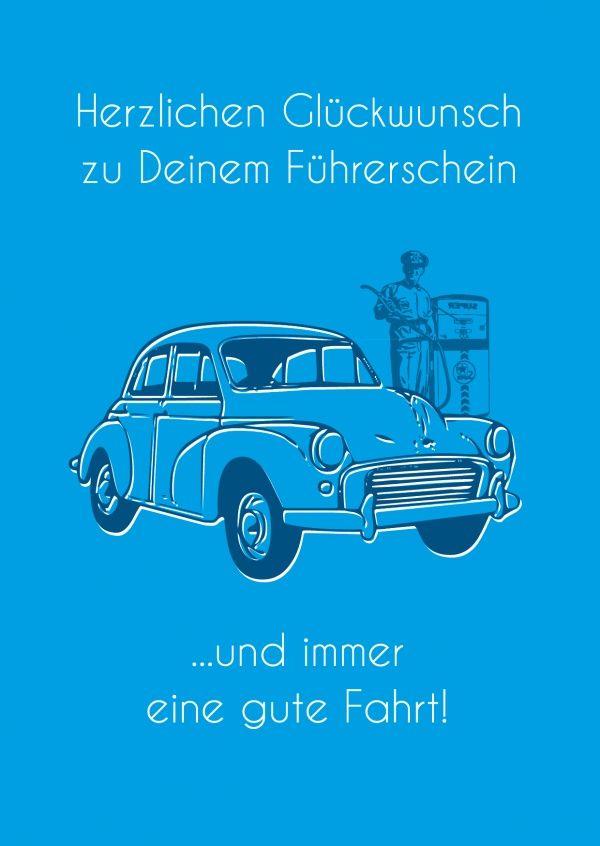 Zum Führerschein Blau Glückwünschkarten Sprüche