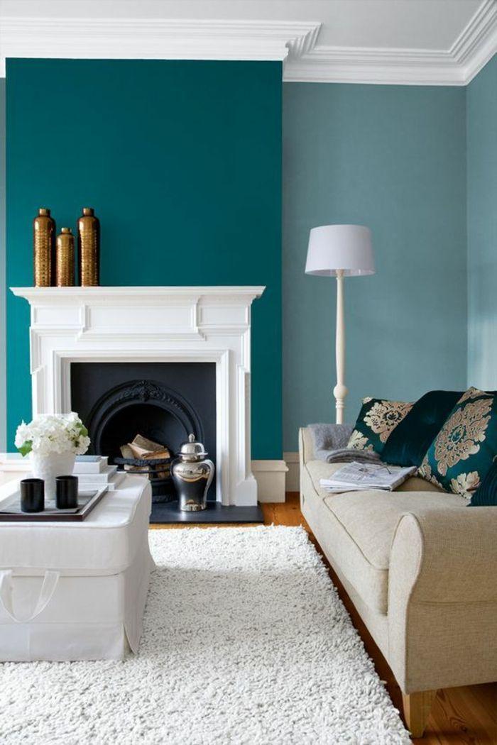 Déco Salon \u2013 peinture-bleu-canard-cheminée-blanche-sofa-crème