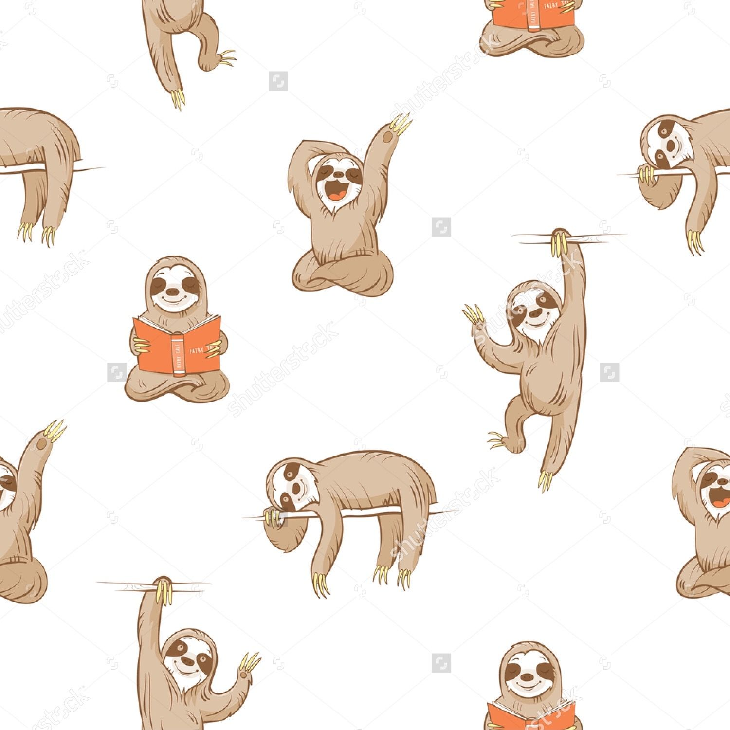 Sloth Pattern shutterstock Sloth, Cute sloth, Sloth art