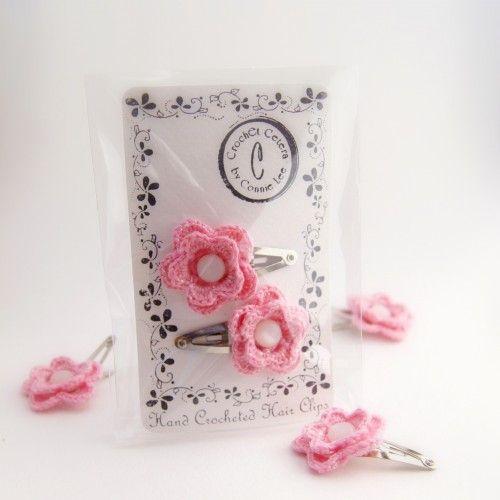 Pink Handmade Thread Crochet Flower Hair Clips - 1 Pair | ConnieLee - Crochet on ArtFire