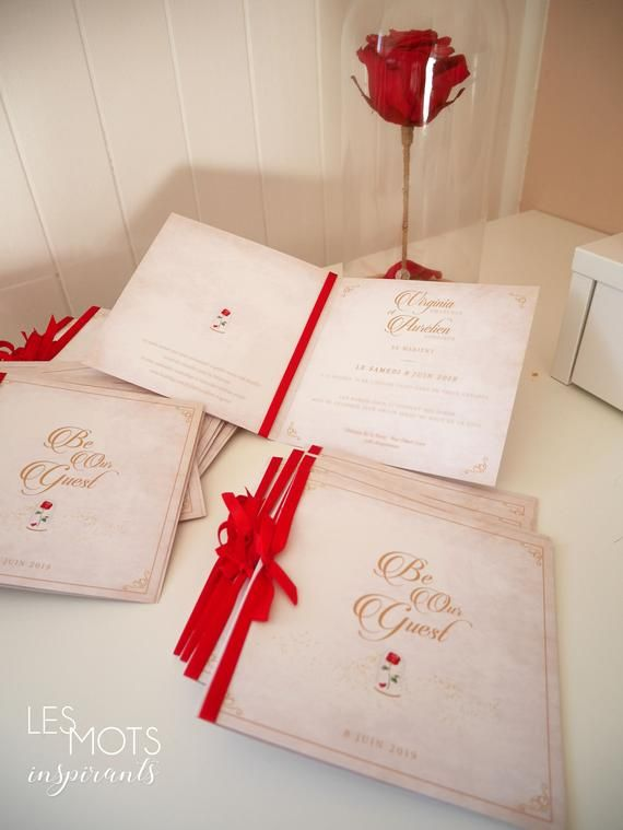 Faire part mariage disney, faire part la belle et labête, faire part disney chic, be our guest