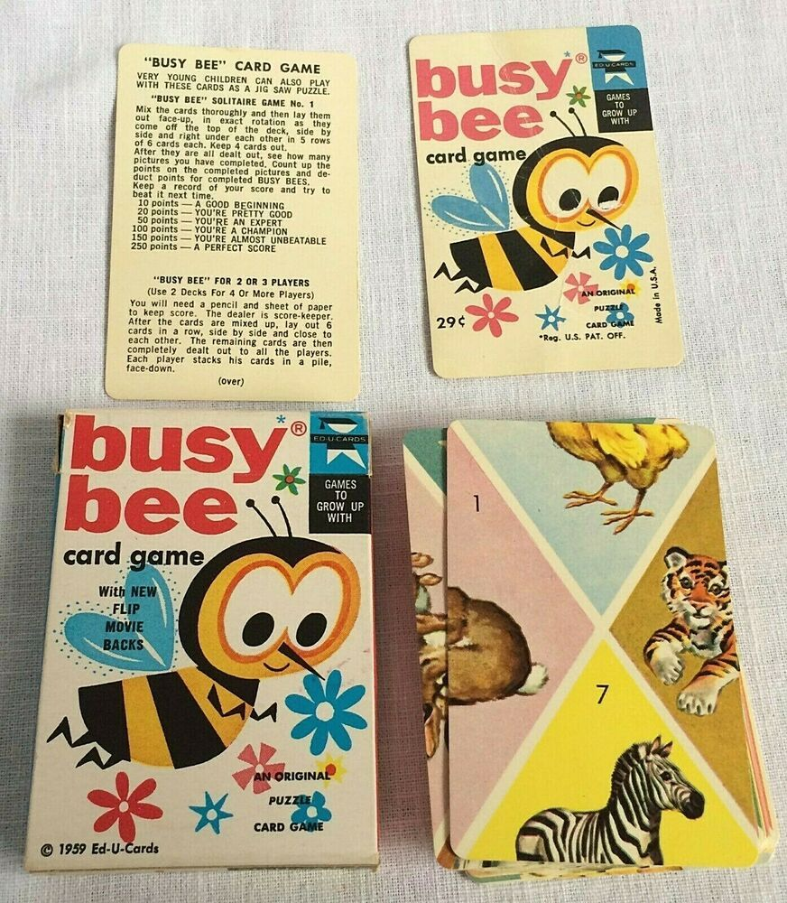 Vintage 1959 Busy Bee Card Game With Flip Movie Backs Original Box Puzzle Game Educards Bee Cards Card Games Title Card