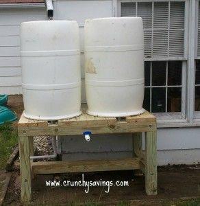 Double Rain Barrel System Crunchy Savings Rain Barrel System Rain Barrel Rain Water Barrel